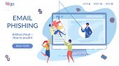 Email Phishing Landing Page Flat Vector Template. Internet Fraud Avoiding. Cybercrime, Online Scam W poster