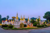 Twenty Pagodas Temple Is A Buddhist Temple In Lampang Province, Thailand poster
