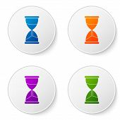 Color Old Hourglass With Flowing Sand Icon Isolated On White Background. Sand Clock Sign. Business A poster