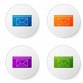 Color Mail And E-mail Icon Isolated On White Background. Envelope Symbol E-mail. Email Message Sign. poster