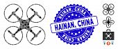 Mosaic Quadcopter Icon And Grunge Stamp Watermark With Hainan, China Text. Mosaic Vector Is Formed F poster