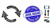 Mosaic Refresh Icon And Corroded Stamp Seal With Japan, Nagano Caption. Mosaic Vector Is Formed With poster