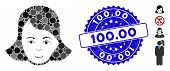 Mosaic Lady Face Icon And Rubber Stamp Watermark With 100.00 Caption. Mosaic Vector Is Composed With poster