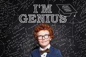 Funny Little Boy Genius On Blackboard Background Portrait poster