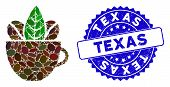 Mosaic Fresh Coffee Cup Icon And Rubber Stamp Seal With Texas Text. Mosaic Vector Is Composed With F poster