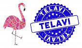 Mosaic Flamingo Bird Icon And Distressed Stamp Seal With Telavi Caption. Mosaic Vector Is Composed W poster