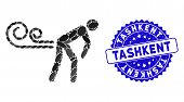 Mosaic Farting Wind Icon And Rubber Stamp Seal With Tashkent Phrase. Mosaic Vector Is Composed With  poster