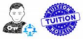 Collage Social Engineer Icon And Grunge Stamp Seal With Tuition Text. Mosaic Vector Is Composed With poster