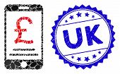 Collage British Pound Mobile Payment Icon And Grunge Stamp Seal With Uk Text. Mosaic Vector Is Compo poster