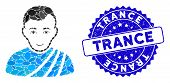 Mosaic Patrician Citizen Icon And Rubber Stamp Watermark With Trance Caption. Mosaic Vector Is Desig poster