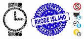 Mosaic Watches Icon And Rubber Stamp Seal With Rhode Island Text. Mosaic Vector Is Composed With Wat poster