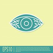 Green Reddish Eye Due To Viral, Bacterial Or Allergic Conjunctivitis Icon Isolated On Yellow Backgro poster