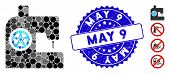 Mosaic Sewing Machine Icon And Corroded Stamp Seal With May 9 Text. Mosaic Vector Is Composed From S poster