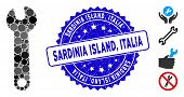 Mosaic Wrench Icon And Rubber Stamp Seal With Sardinia Island, Italia Text. Mosaic Vector Is Compose poster