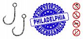 Mosaic Two Fishing Hooks Icon And Corroded Stamp Seal With Philadelphia Text. Mosaic Vector Is Compo poster