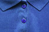 Polo Shirt Close Up Of Bright Blue Colour. Casual Summer Season Top With Simple Design, Buttoned Up  poster