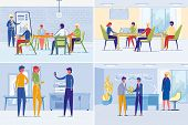 Business People Work And Daily Company Corporate Life. Businessmen And Women Holding Meeting, Making poster