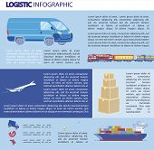 Logistics Infographics, Bulky Transportation. Different Types Transport For Transporting Goods Over  poster