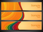 Website banner or header set with wave pattern. EPS 10.