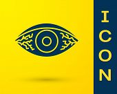 Blue Reddish Eye Due To Viral, Bacterial Or Allergic Conjunctivitis Icon Isolated On Yellow Backgrou poster