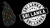 Bright Mesh Sri Lanka Island Map With Lightspot Effect, And Seal Stamp. Wire Frame Polygonal Sri Lan poster