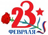 23 February Defender Of Fatherland Day Text Russian Language Translation. Red Carnation Flower And R poster