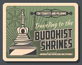 Vector Vintage Card With Stupa Temple, Buddhism Dharma Wheel And Worship Tips. Buddhist Shrines Tour poster