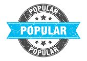 Popular Round Stamp With Turquoise Ribbon. Popular poster