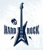 Hard Rock Emblem With Electric Guitar Vector Logo, Concert Festival Or Night Club Label, Music Theme poster