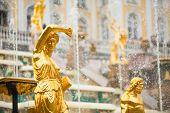 Постер, плакат: Большой каскад фонтанов в Петергофе дворец Санкт Петербург Россия