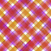 Watercolor Diagonal Stripe Plaid Seamless Texture. Colorful Pink Purple Orange Stripes Background. W poster