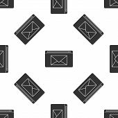Grey Mail And E-mail Icon Isolated Seamless Pattern On White Background. Envelope Symbol E-mail. Ema poster