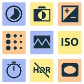 Picture Icons Set With Timer, Timelapse, Vignette And Other Colorless Elements. Isolated Illustratio poster