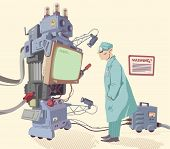 stock photo of genetic engineering  - The scientist is looking on the error message of the giant robot - JPG