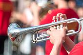 A Jazz Trumpeter Plays Of His Trumpet In The Brass Band During A Carnival Live Event. Blurry Close U poster