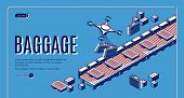 Baggage In Airport Conveyor Isometric Landing Page. Drones Loading Luggage On Belt For Passengers Cl poster