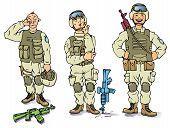 Постер, плакат: Три солдата печально продуманным и счастливые