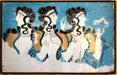 foto of mural  - Minoan ladies mural wall painting fresco Knossos Crete Greece - JPG
