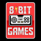 8 Bit Retro Old Gamepad Joystick Video Game Controller. Custom Vector Illustration About Geek Cultur poster