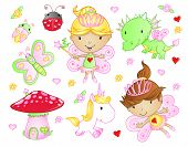 foto of fairy-mushroom  - Cute Fairy Princess Flowers Bug and Animal Vector Set - JPG