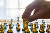 Business Man In Office And Chess Business Leader Success Idea. Working On Making Business Plan, Busi poster