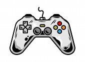 Icon Of Gamepad For Play Arcade Video Game For Gamer Custom Design Vector Cartoon Illustration With  poster