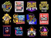 Game Design Logo Set Collection Of Video Game Geek Culture Gamer Elements Bundle. Vector Illustratio poster