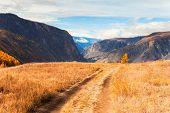 Autumn Landscape Of Chulyshman River Valley In Altai Mountains, Siberia, Russia poster