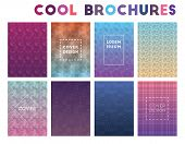 Cool Brochures. Amazing Geometric Patterns, Beauteous Vector Illustration. poster