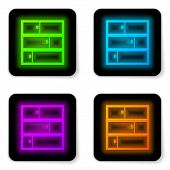 Glowing Neon Line Shelf Icon Isolated On White Background. Shelves Sign. Black Square Button. Vector poster