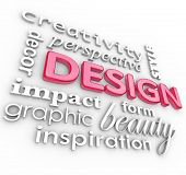 The word Design and related words in a collage representing creativity, beauty, inspiration, style,