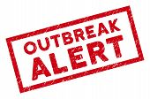 Outbreak Alert Rectangular Framed Stamp Seal. Red Vector Rectangular Grunge Seal With Outbreak Alert poster