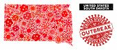 Contagious Collage South Dakota State Map And Red Grunge Stamp Watermark With Outbreak Text. South D poster