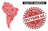 Infected Collage South America Map And Red Rubber Stamp Seal With Outbreak Caption. South America Ma poster
